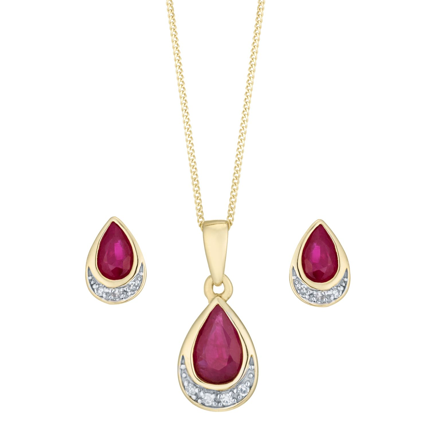 9ct Yellow Gold Ruby And Diamond Jewellery Set - Product number 8147388
