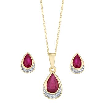 9ct Yellow Gold Ruby & Diamond Jewellery Set - Product number 8147388