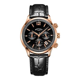 Rotary Men's Black Leather Strap Watch - Product number 8147698