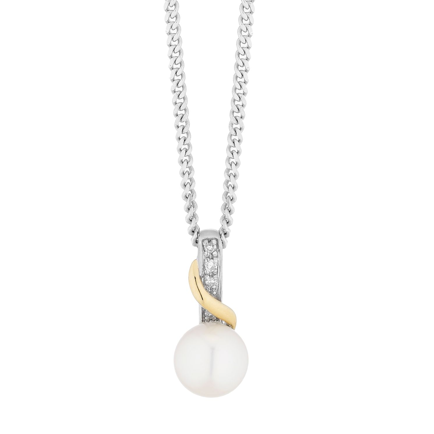 Sterling Silver & 9ct Gold Diamond & Pearl Pendant - Product number 8147906