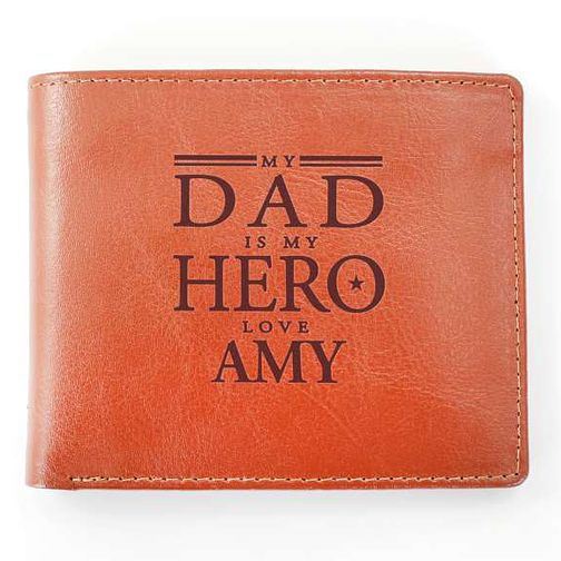 Personalised 'My Dad Is My Hero' Tan Leather Wallet - Product number 8148155