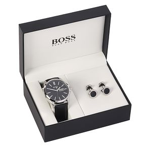 Hugo Boss Men's Black Cufflink & Watch Set - Product number 8150109