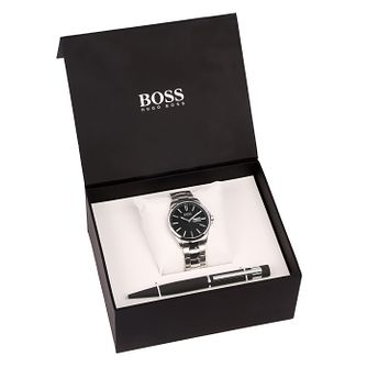 Hugo Boss Men's Stainless Steel Black Watch & Pen Gift Set - Product number 8150559