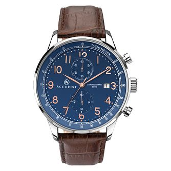 Accurist Men's Blue Dial Leather Strap Chronograph Watch - Product number 8151121