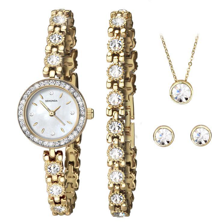Sekonda La s Gold Watch & Jewellery Set Bluewater