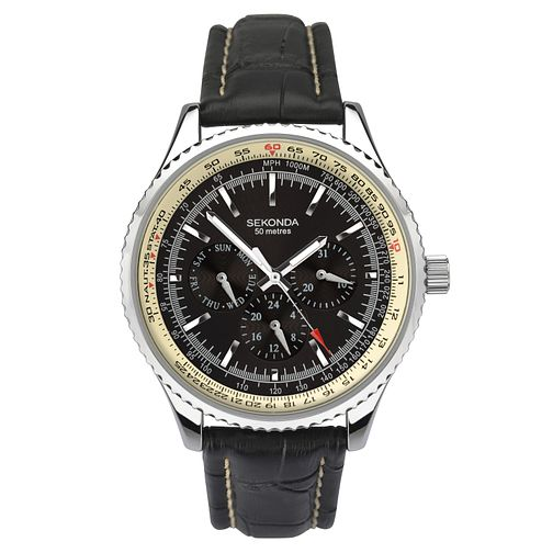 Sekonda Men's Black Leather Strap Watch - Product number 8151199