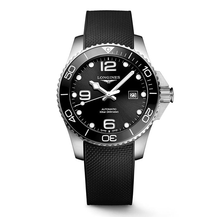 Longines Hydroconquest Men's Black Rubber Strap Watch - Product number 8152306