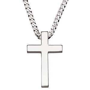 "Sterling Silver 20"" Men's Cross Pendant - Product number 8152675"