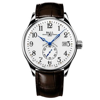 Ball Trainmaster Men's Stainless Steel Brown Strap Watch - Product number 8154163
