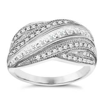 9ct White Gold 1/3ct Diamond Seven Rows Crossover Ring - Product number 8155453
