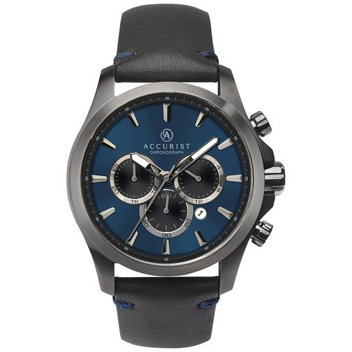 Accurist Men's Black Leather Strap Chronograph Watch - Product number 8158495