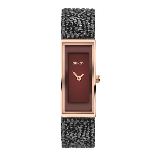 Seksy Rocks® Ladies' Stone-Set Black Strap Watch - Product number 8158800