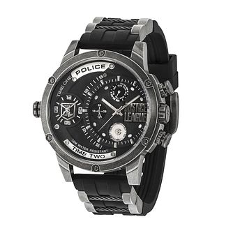 Police Justice League Men's Black Silicone Strap Watch - Product number 8162522