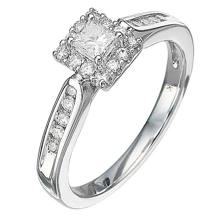 18ct White Gold Half Carat Princess Cut Diamond Ring