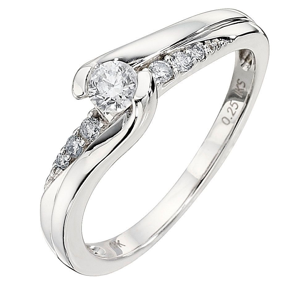 9ct White Gold 0.25ct total Diamond Solitaire Ring - Product number 8176094