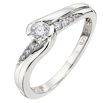 Perfect Fit 9ct White Gold Quartercut Diamond Solitaire Ring - Product number 8176094