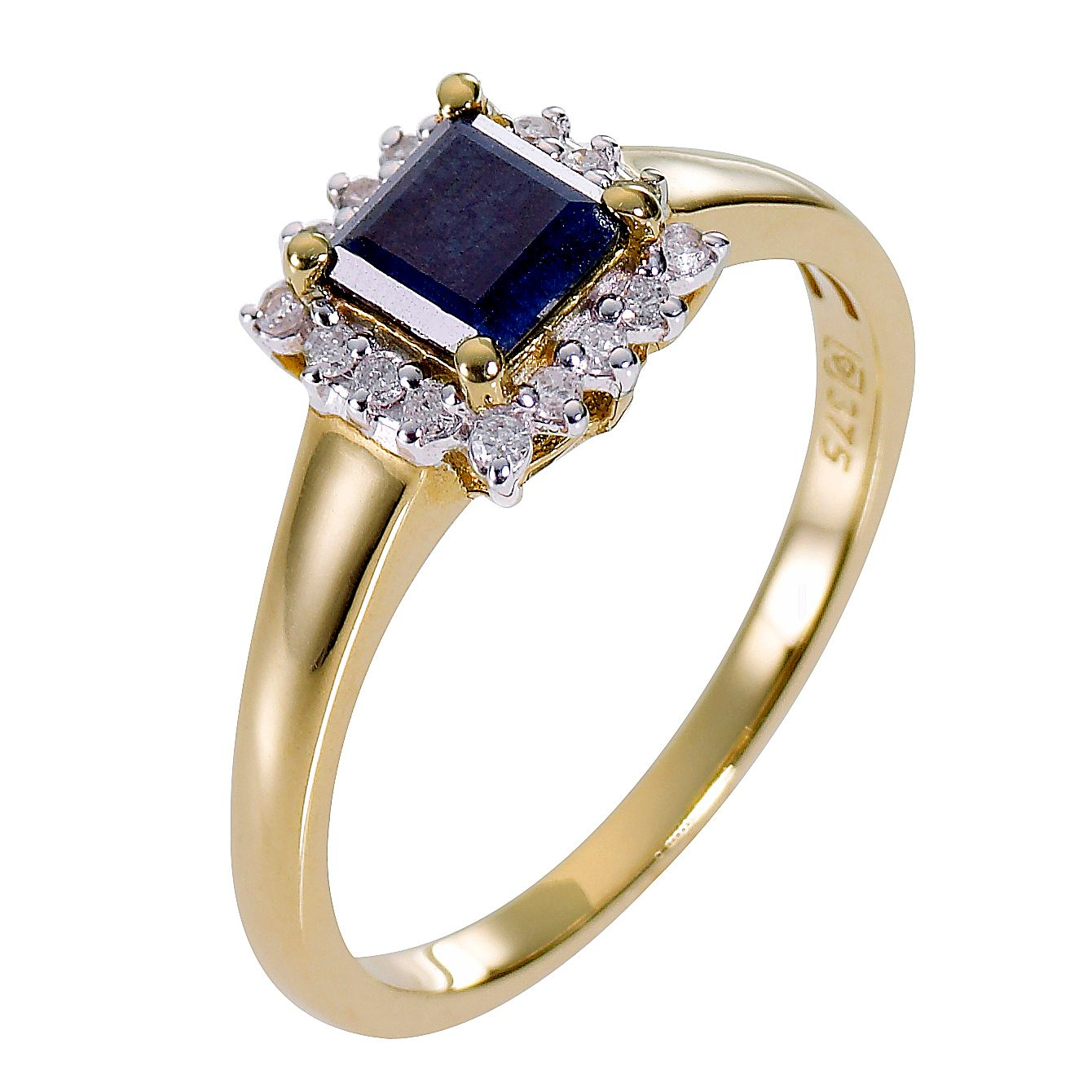9ct Yellow Gold Diamond & Sapphire Ring - Product number 8177937