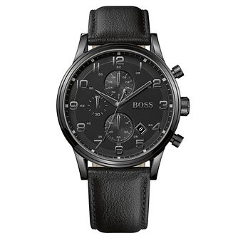 BOSS Aeroliner Men's Ion Plated Black Strap Watch - Product number 8185956