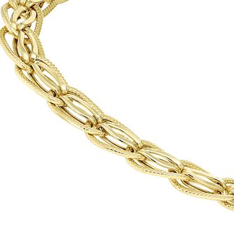 9ct Yellow Gold Double Link Bracelet - Product number 8192804