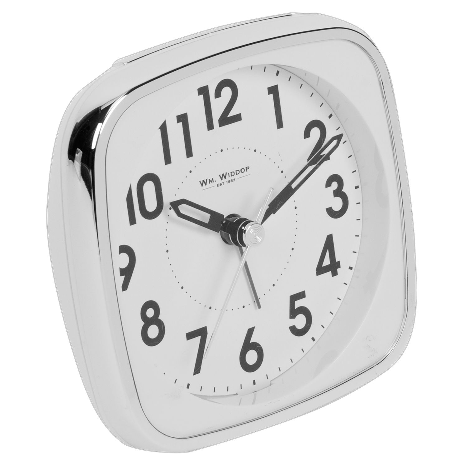 WM. Widdop Silver Tone Square Mantle Alarm Clock - Product number 8194041