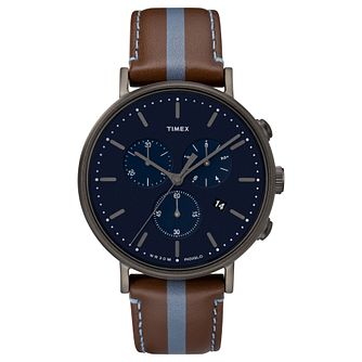 Timex Men's Fairfield Chronograph Brown Leather Strap Watch - Product number 8194890