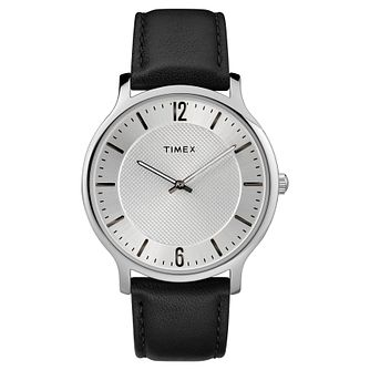 Timex Men's Skyline Slim Black Leather Strap Watch - Product number 8194920