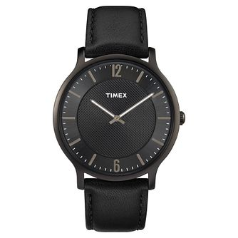 Timex Men's Skyline Slim Black Leather Strap Watch - Product number 8194939