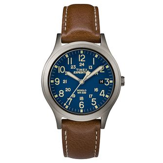 Timex Men's Expedition Scout Brown Leather Strap Watch - Product number 8195196