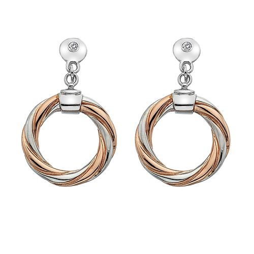 Hot Diamonds Silver & Rose Gold Twist Earrings - Product number 8195331