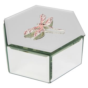 Crystal Dragonfly Pink Glass Trinket Box - Product number 8196532