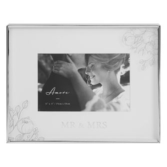 Amore Mr & Mrs Silver Foil 6x4 Landscape Photo Frame - Product number 8196737
