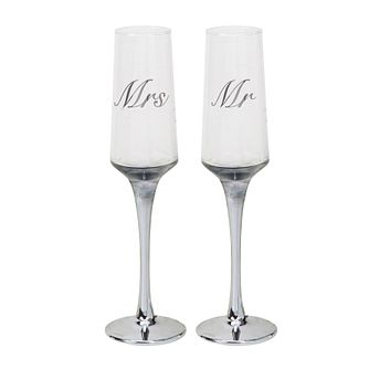 Amore Wedding Day Mr and Mrs Set of 2 Glass Flutes - Product number 8196753