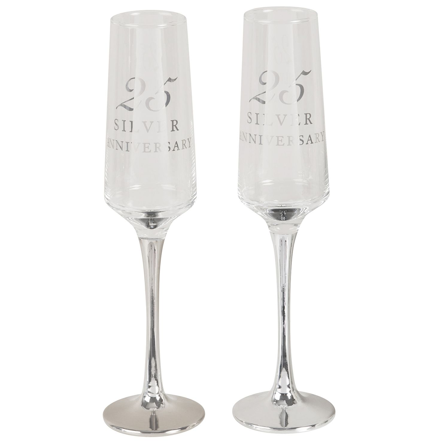 Amore 25th Silver Anniversary Set of 2 Glass Flutes - Product number 8196907