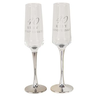 Amore 40th Ruby Anniversary Set of 2 Glass Flutes - Product number 8196958