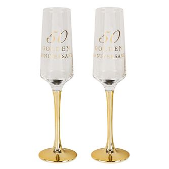 Amore 50th Golden Anniversary Set of 2 Glass Flutes - Product number 8197008