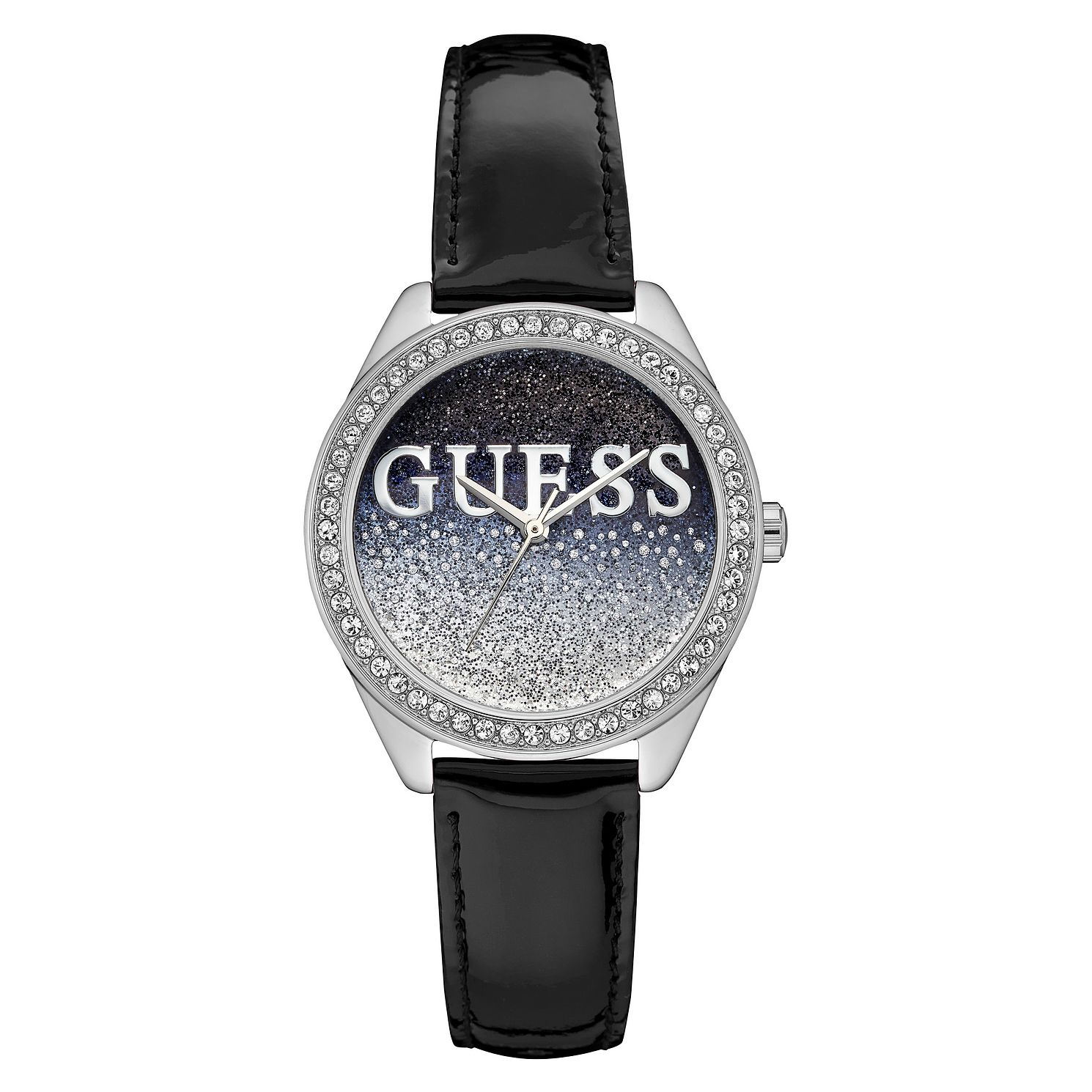 Guess Glitter Girl Ladies' Black Leather Strap Watch - Product number 8197245