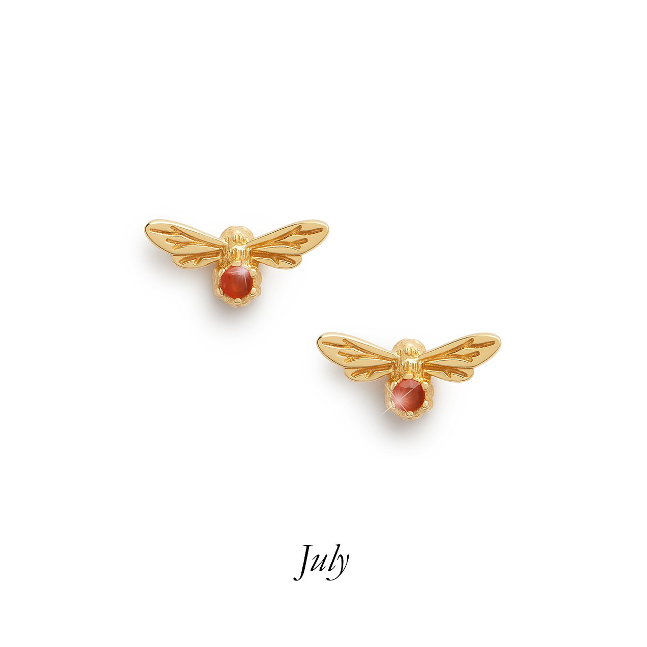 Olivia Burton Lucky Bee Gold Tone Red Agate Stud Earrings - Product number 8197318