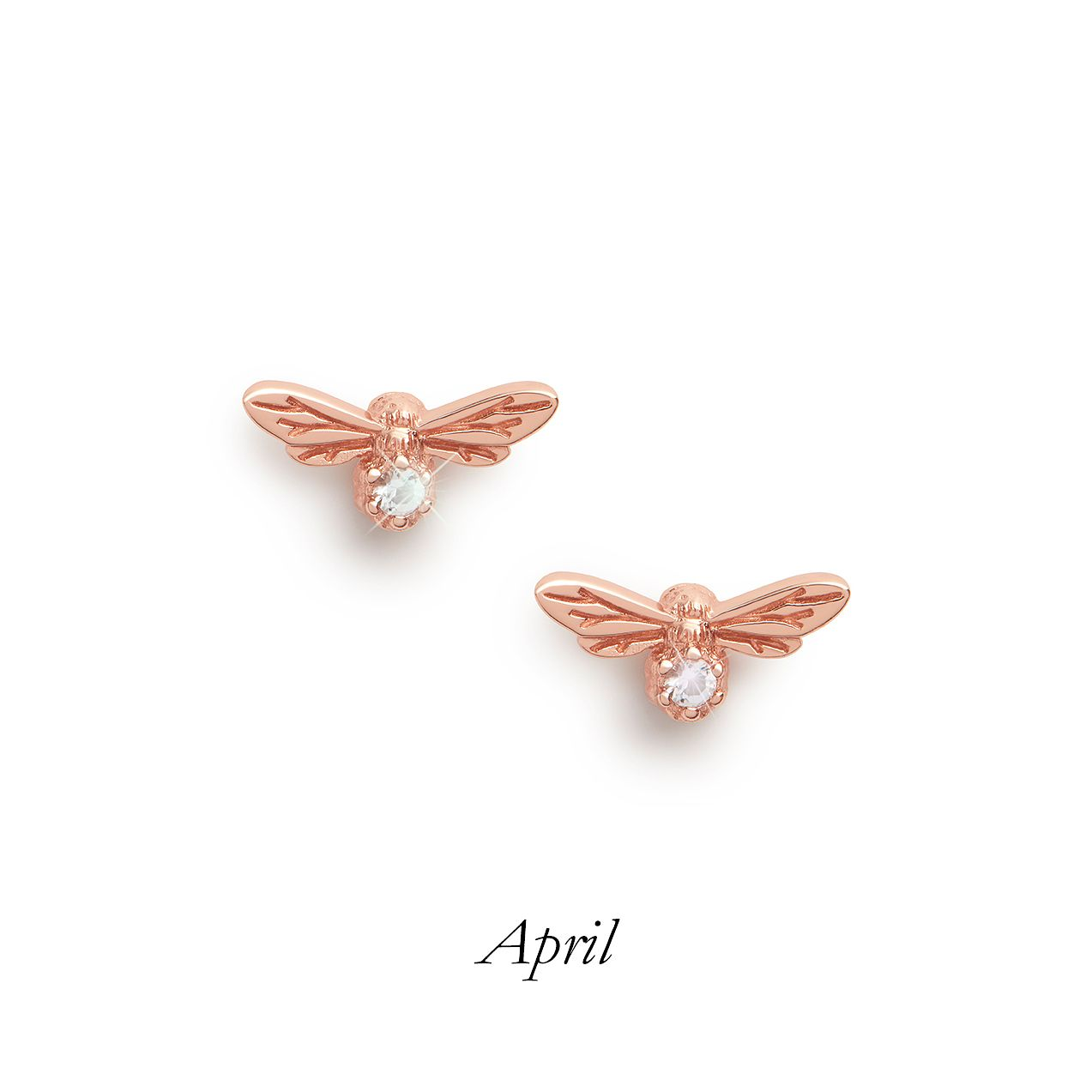 Olivia Burton Lucky Bee Rose Gold Tone White Topaz Earrings - Product number 8199515
