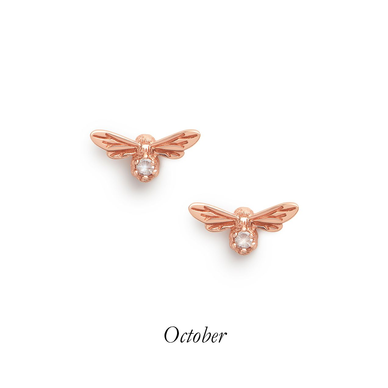 Olivia Burton Lucky Bee Rose Gold Tone Rose Quartz Earrings - Product number 8199701