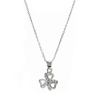 Cailin Silver Cubic Zirconia Clover Pendant Necklace - Product number 8200025