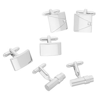 Polished Silver Tone 3-Piece Cufflink Box Set - Product number 8200203