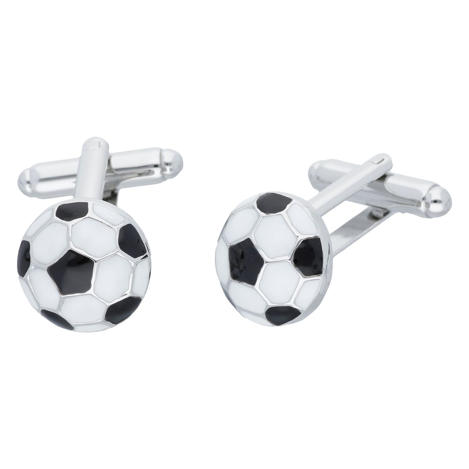 Men's White & Black Enamel Football Cufflinks - Product number 8200238