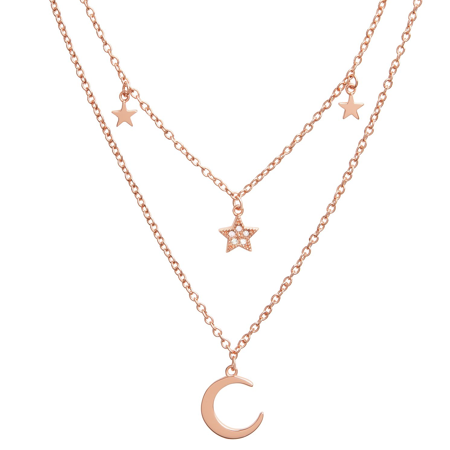 Olivia Burton Celestial Rose Gold Tone Double Chain Necklace - Product number 8200610