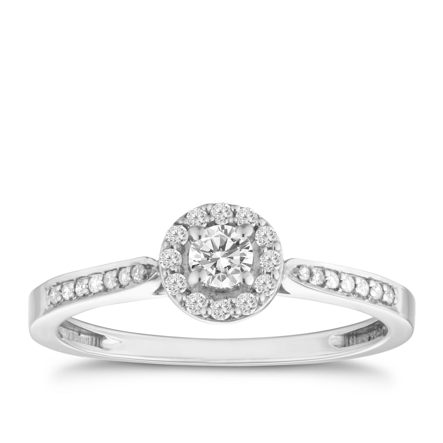 9ct White Gold 0.25ct Total Diamond Halo Ring - Product number 8200742