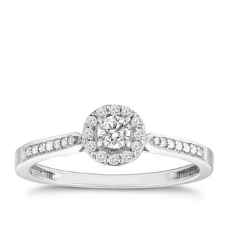 9ct White Gold 1/4ct Diamond Halo Ring - Product number 8200742