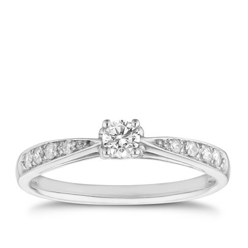 9ct white gold 1/4ct diamond solitaire ring - Product number 8204632