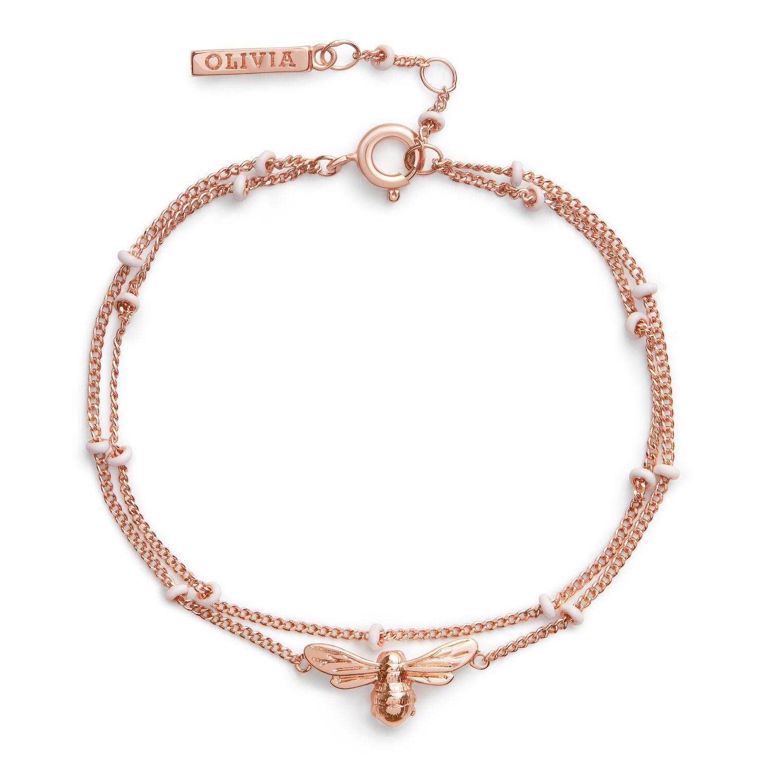 Olivia Burton Lucky Bee Rose Gold Tone Chain Bracelet - Product number 8205361