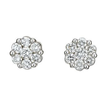 9ct White Gold 0.75ct Total Diamond Cluster Earrings - Product number 8208425