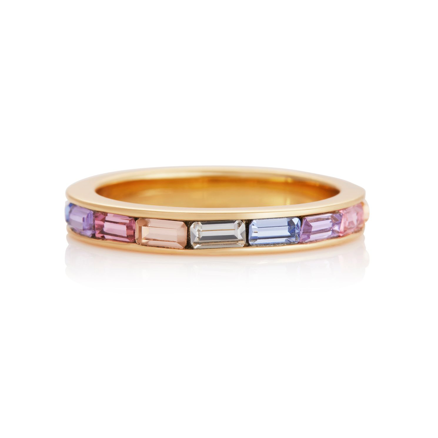 Olivia Burton Rainbow Baguette Yellow Gold Tone Ring - M - Product number 8208581