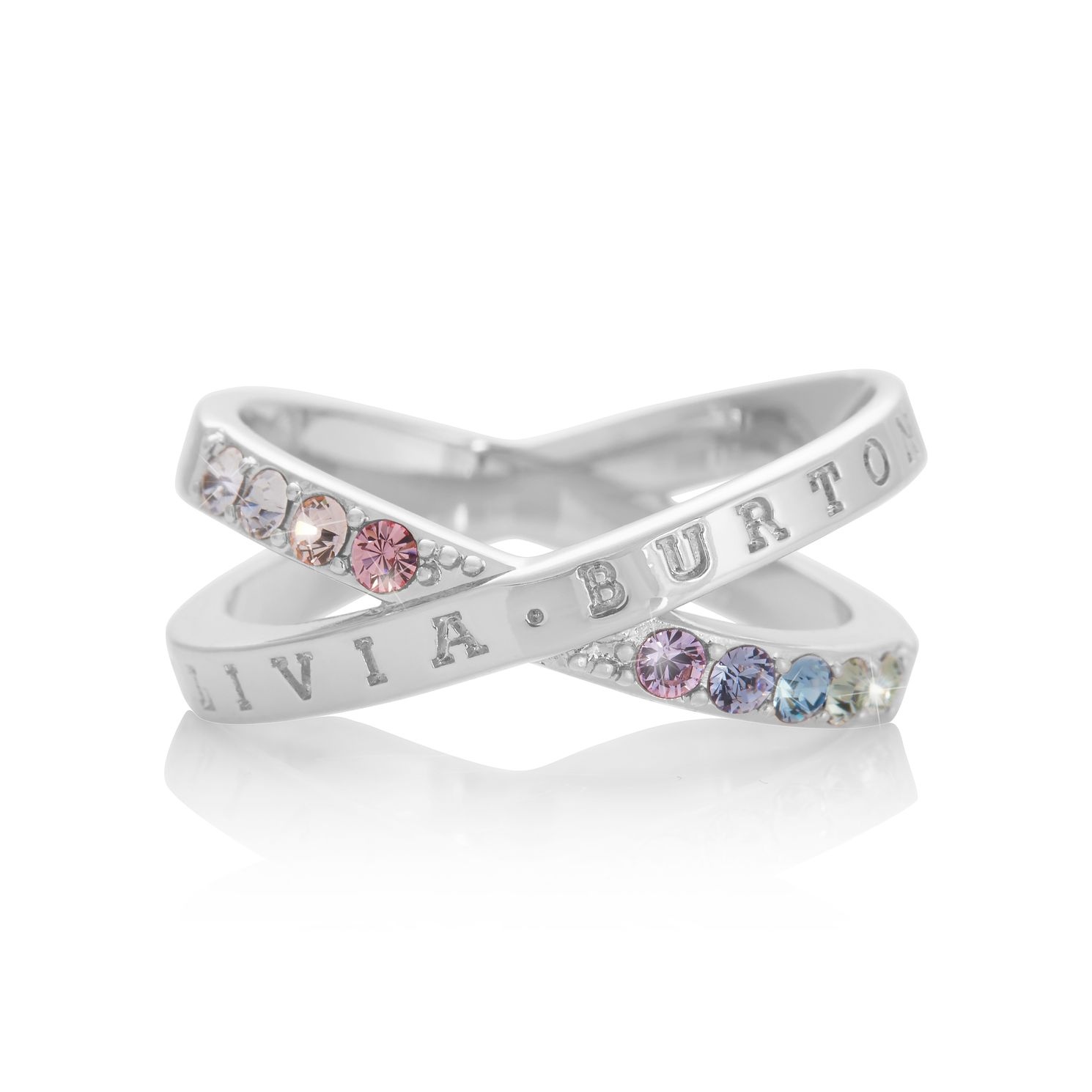 Olivia Burton Classics Rainbow Rhodium Plated Crystal Ring - Product number 8208662